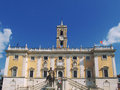 Square of campidoglio with a statue marco aurelio Royalty Free Stock Photos
