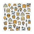 Square card with apiary elements thin line colored icons set