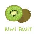 Square card with hand drawn kiwi fruit vector illustration. Sliced and whole kiwi on white background.