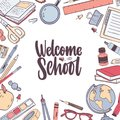 Square card template with Welcome School lettering handwritten with elegant cursive calligraphic font and decorated by Royalty Free Stock Photo