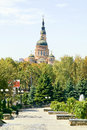 Square in the city of kharkiv municipal landscape public garden and cathedral Stock Photo