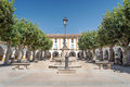 Square of ciudad rodrigo spanish city with houses with arches in the center the lamppost in both side some trees Royalty Free Stock Photo