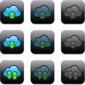 Square cloud computing app icons. Stock Photos