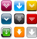 Square color download icons set of buttons for website or app vector eps Stock Images