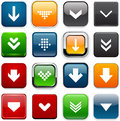 Square color download icons set of buttons for website or app vector eps Stock Image