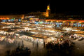 Square djamaa el fna in marrakesh at night with all the food shops Royalty Free Stock Photo