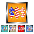 Square dollar-USA flag buttons Stock Images
