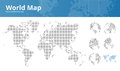 Square dotted world map and earth globes showing all continents