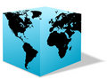 Square Earth globe box carton world Royalty Free Stock Photo