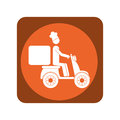 Square emblem with delivery man in scooter