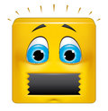 Square emoticon muted illustration on white background of Royalty Free Stock Photos