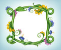 Square empty frame made green stem leaves spring summer flowers suitable adding text Stock Photo