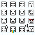 Square face emoticons illustration of a set of emoticon icon Royalty Free Stock Photos