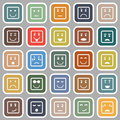 Square face flat icons on gray background stock vector Royalty Free Stock Photo