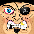 Square faced angry pirate vector illustration Royalty Free Stock Photography