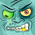 Square faced dead zombie vector illustration Royalty Free Stock Photography