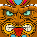 Square faced tiki mask vector illustration Royalty Free Stock Image