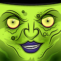 Square faced wicked witch a face vector illustration Royalty Free Stock Photo
