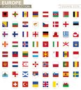 Square flags of Europe. From Albania to Wales Royalty Free Stock Photo