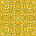 Square floral kaleidoscope spring yellow dandelion pattern Royalty Free Stock Photo