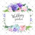Square floral vector design frame.