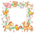 Square Frame with Cute Cartoon Farm Animals