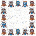 Square frame Cute characters Cartoon owls and owlets birds sketch doodle dark blue red burgundy  on white polka dot backgr Royalty Free Stock Photo