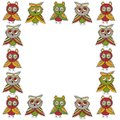 Square frame Cute characters Cartoon owls and owlets birds sketch doodle green brown dark red burgundy isolated on white backgroun Royalty Free Stock Photo