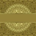 Square frame golden floral circle green beige background dark decorative pattern Royalty Free Stock Images