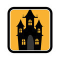 Square frame of halloween with scary casttle