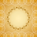 Square frame with lace border and a deciduous circle in the center of the Stock Photography