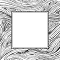 Square frame with lines background. Vector texture with copyscape hand drawn ink wavy strokes. Black and white