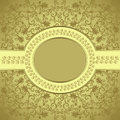 Square frame oval bordered golden background leafy pattern Stock Photo