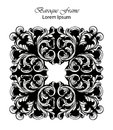 Square Frame Vector. Classic rich ornamented carved decors. Baroque sophisticated designs
