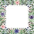 Square Frame with Watercolor Little Flowers and Green Leaves