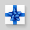 Square Gift Box with Blue Ribbon Bow on Background