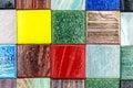 Square glass multicolored smalt mosaic closeup
