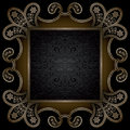 Square gold frame vintage background ornamental on black Stock Photo