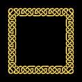 Square golden celtic knots vector frame