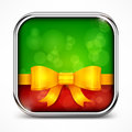 Square green icon bow metallic and on white illustration Royalty Free Stock Image