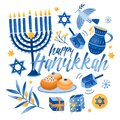 Square greeting card or postcard template with Happy Hanukkah lettering and holiday symbols and attributes - menorah Royalty Free Stock Photo