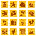 Square grungy tropical buttons in sunny tones Royalty Free Stock Photography