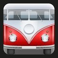Square icon popular bus classic camper van hippie vector illustration Stock Photo