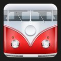 Square icon popular bus classic camper van hippie vector illustration Royalty Free Stock Image