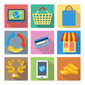 Square icons for internet shopping and banking Fotografia de Stock