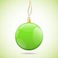 Square illustration with green shiny christmas ball Royalty Free Stock Photo