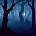 Square illustration of wolf howling at moon vector in night forest Stock Images