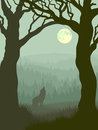 Square illustration of wolf howling at moon vector in night forest in green tone Royalty Free Stock Photography
