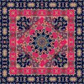 Square indian rug with flower - mandala and ornamental border. Royalty Free Stock Photo
