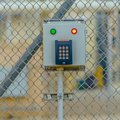 Square Keypad door access control at a Power Plant in Utah Valley Royalty Free Stock Photo